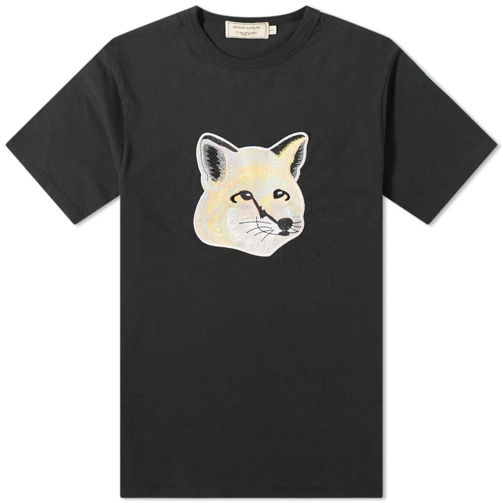 メゾン キツネ Maison Kitsune メンズ Tシャツ トップス【Pastel Fox Head Embroidered Tee】Black