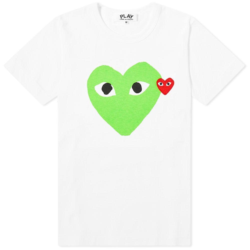 コム デ ギャルソン Comme des Garcons Play レディース Tシャツ ロゴTシャツ トップス【Double Heart Logo Tee】White/Green
