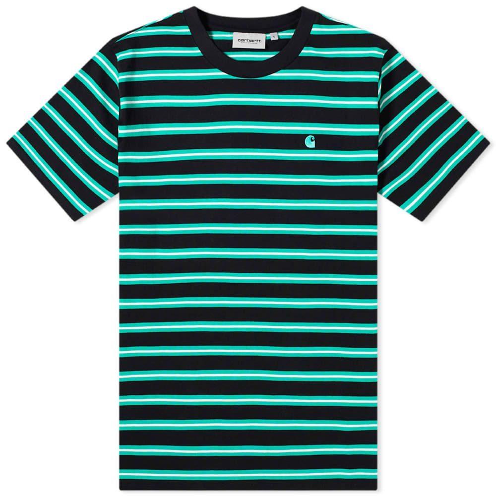 カーハート Carhartt WIP メンズ Tシャツ トップス【Oakland Stripe Tee】Black/Yoda