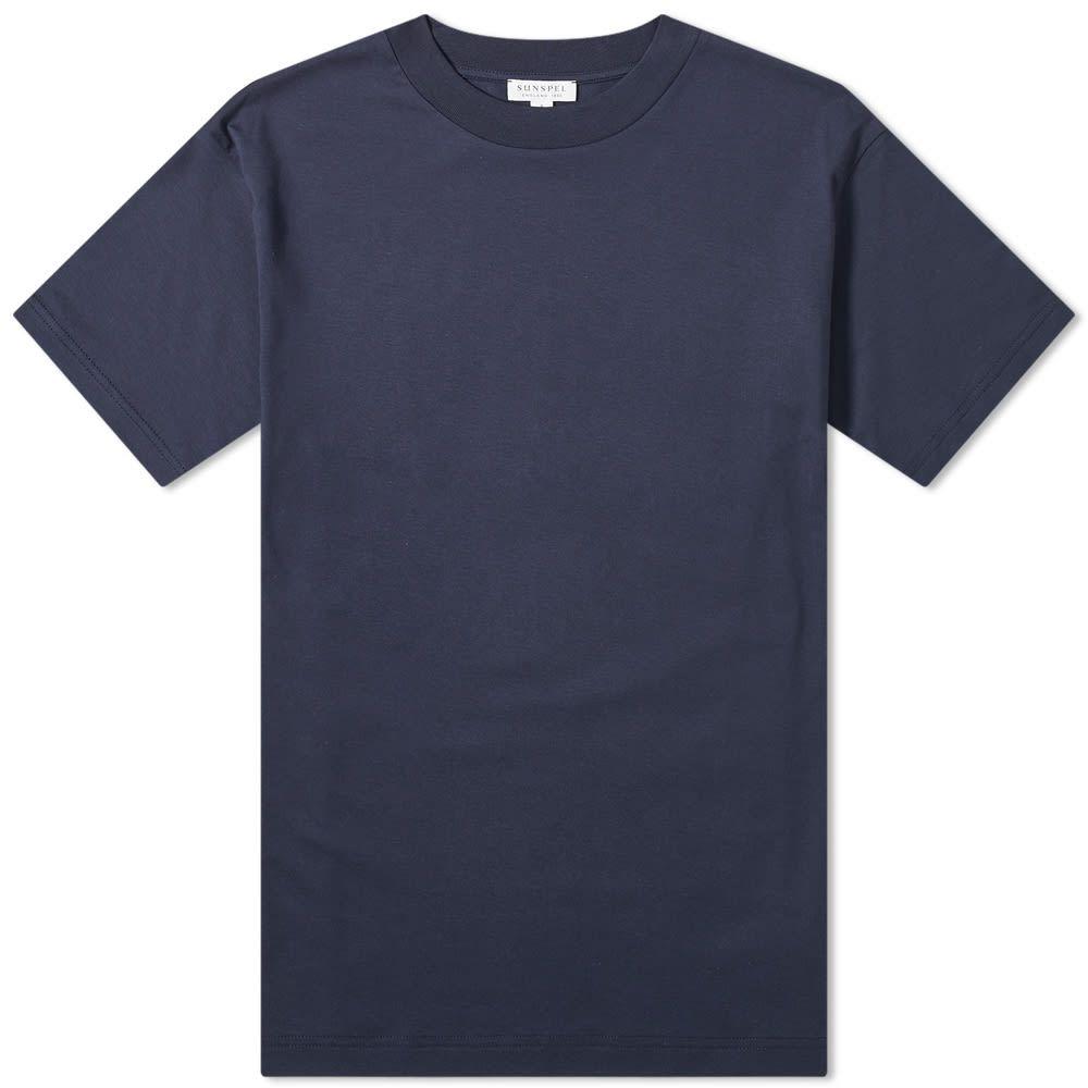 サンスペル Sunspel メンズ Tシャツ トップス【Mock Neck Tee】Navy