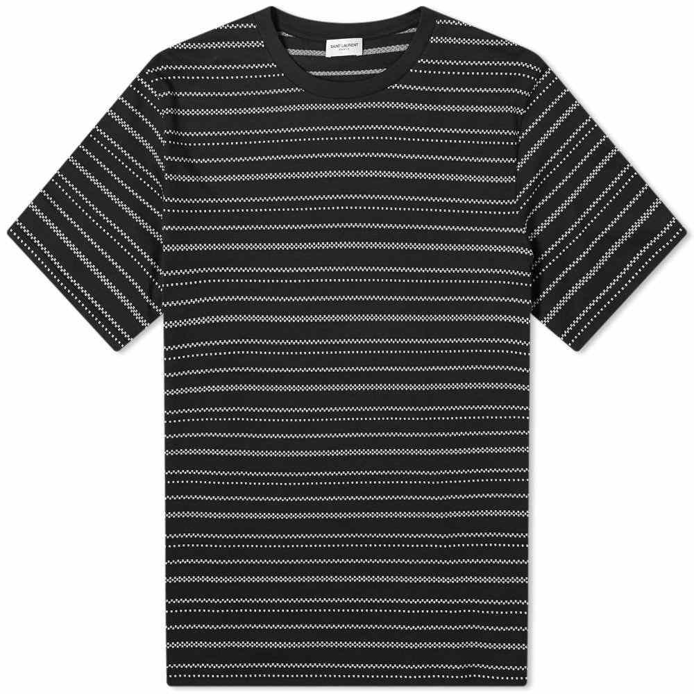 イヴ サンローラン Saint Laurent メンズ Tシャツ トップス【Striped Jacquard Tee】Black/Natural