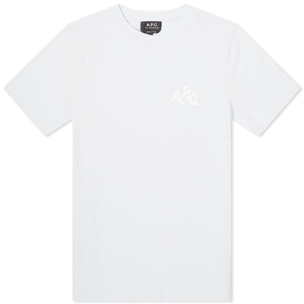 アーペーセー A.P.C. メンズ Tシャツ ロゴTシャツ トップス【Pixel Logo Tee】Sky Blue