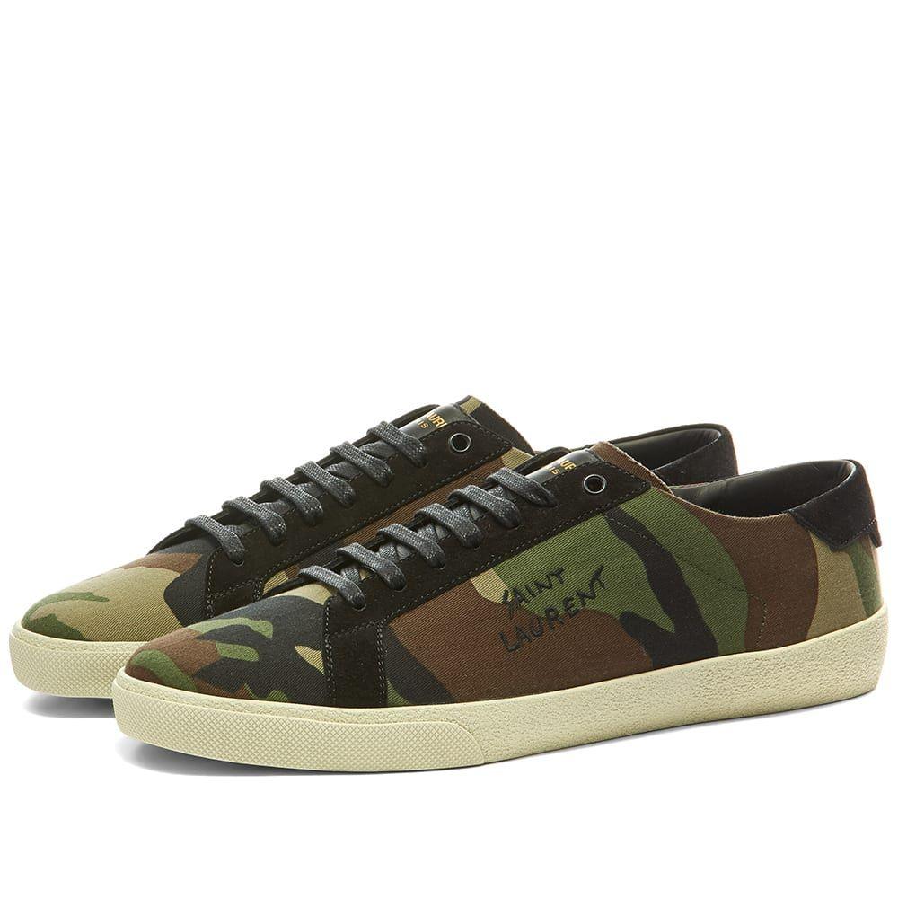 イヴ サンローラン Saint Laurent メンズ スニーカー シューズ・靴【SL06 Court Canvas Signature Sneaker】Camo/Black/White