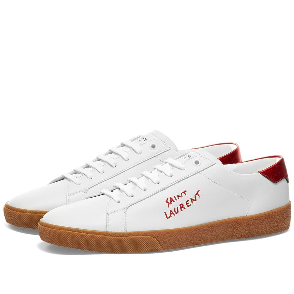 イヴ サンローラン Saint Laurent メンズ スニーカー シューズ・靴【SL06 Court Leather Signature Sneaker】White/Red/Gum