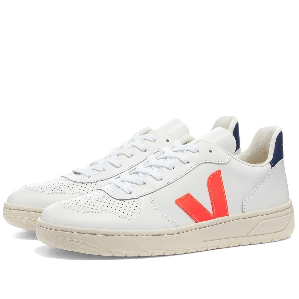 ヴェジャ Veja メンズ バスケットボール スニーカー シューズ・靴【V-10 Leather Basketball Sneaker】White/Fluo Orange