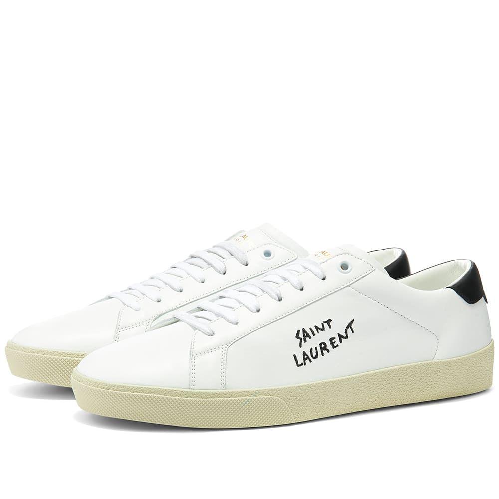 イヴ サンローラン Saint Laurent メンズ スニーカー シューズ・靴【SL06 Court Leather Signature Sneaker】White/Black/Ecru