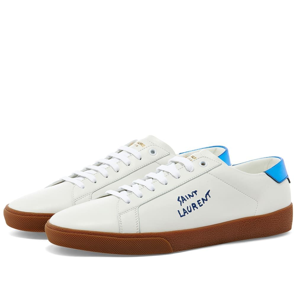 イヴ サンローラン Saint Laurent メンズ スニーカー シューズ・靴【SL06 Court Leather Signature Sneaker】White/Blue/Gum