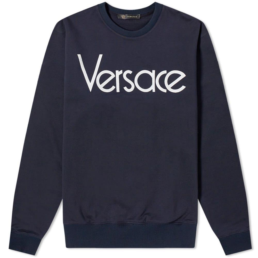 ヴェルサーチ Versace メンズ スウェット・トレーナー トップス【80s logo embroidered sweat】Navy/White