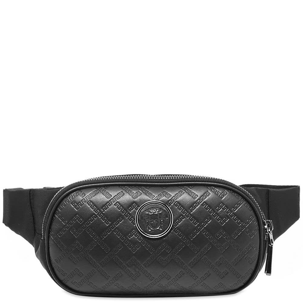 ヴェルサーチ Versace メンズ ボディバッグ・ウエストポーチ バッグ【leather embossed greek logo waist bag】Black