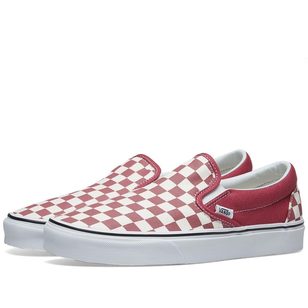 ヴァンズ Vans メンズ スリッポン・フラット シューズ・靴【classic slip on checkerboard】Dry Rose/White