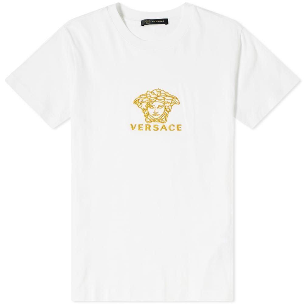ヴェルサーチ Versace メンズ Tシャツ メデューサ トップス【embroidered medusa tee】White/Gold