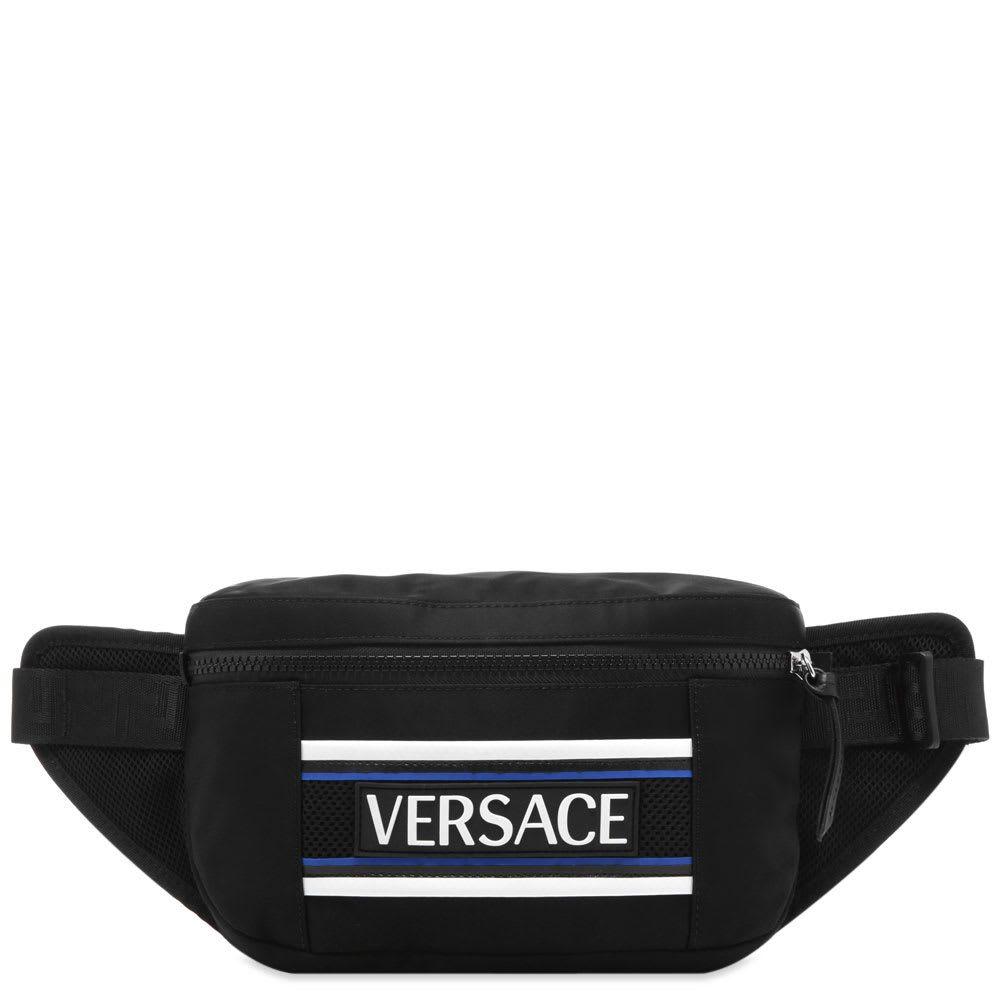 ヴェルサーチ Versace メンズ ボディバッグ・ウエストポーチ バッグ【bonded logo waist bag】Black/Blue