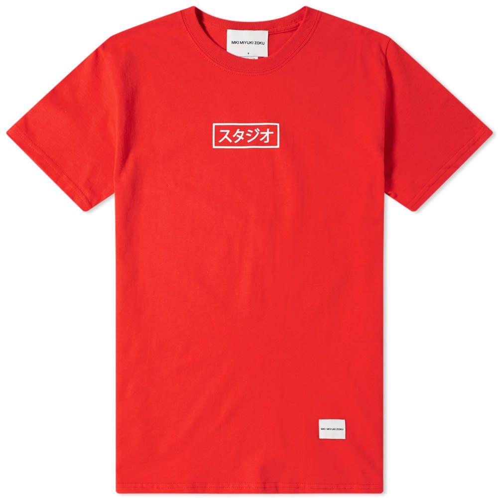 エムケーアイ MKI メンズ Tシャツ トップス【studio box tee】Red/White