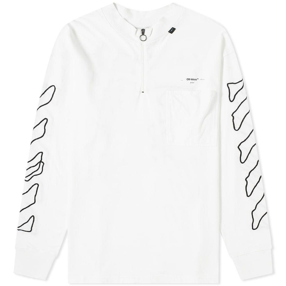 オフ-ホワイト Off-White メンズ 長袖Tシャツ トップス【abstract arrows zip mock neck tee】White