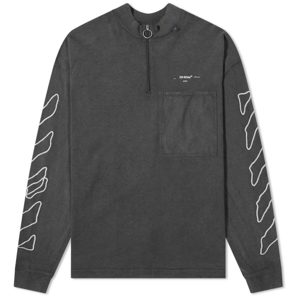 オフ-ホワイト Off-White メンズ 長袖Tシャツ トップス【abstract arrows zip mock neck tee】Black