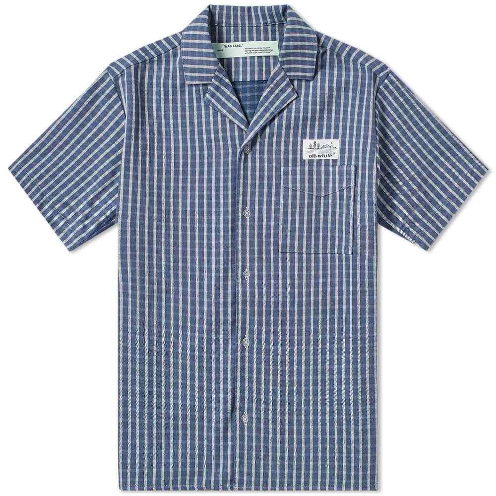 オフ-ホワイト Off-White メンズ 半袖シャツ トップス【check vacation shirt】Blue