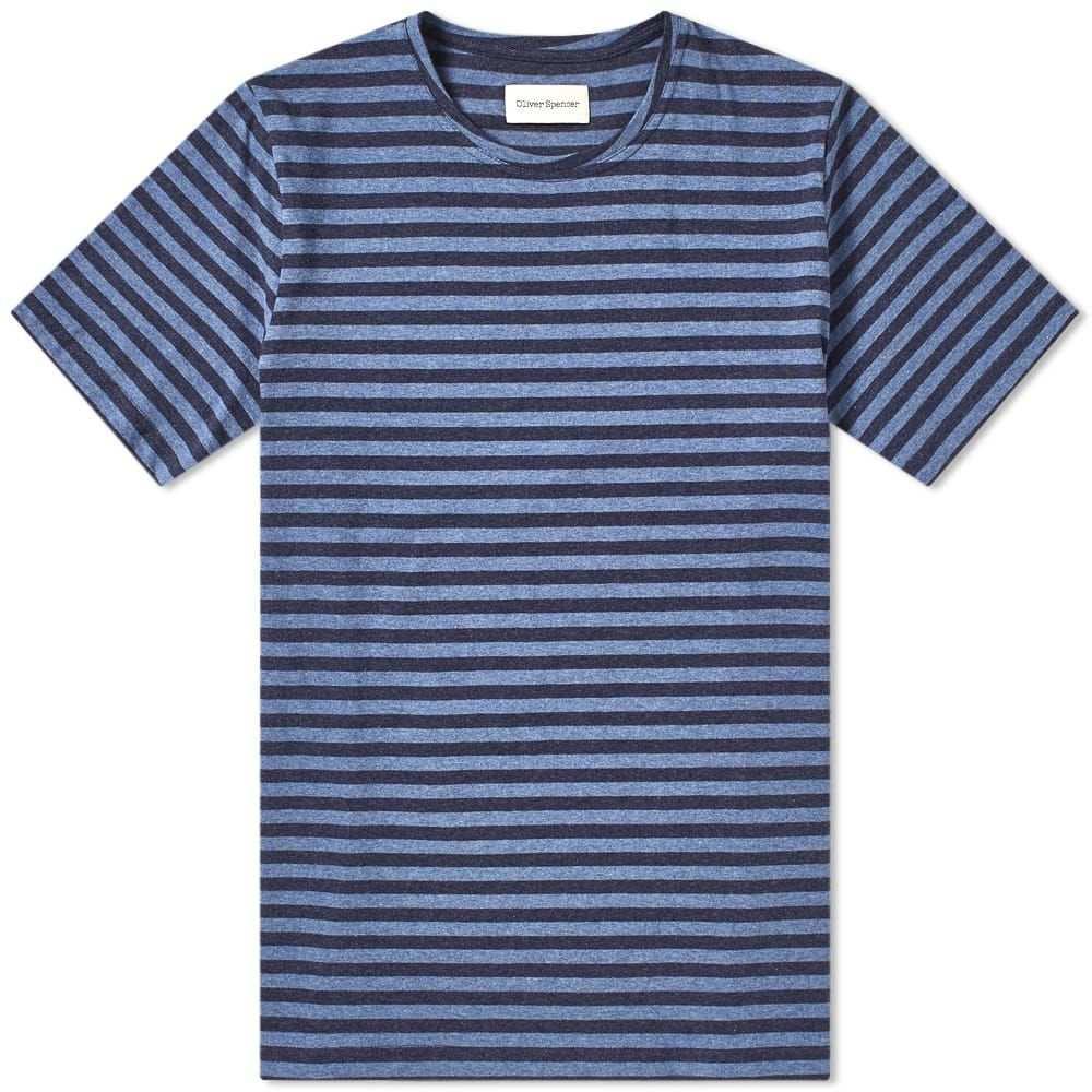 オリバー スペンサー Oliver Spencer メンズ Tシャツ トップス【conduit tee】Capri Navy/Sky Blue
