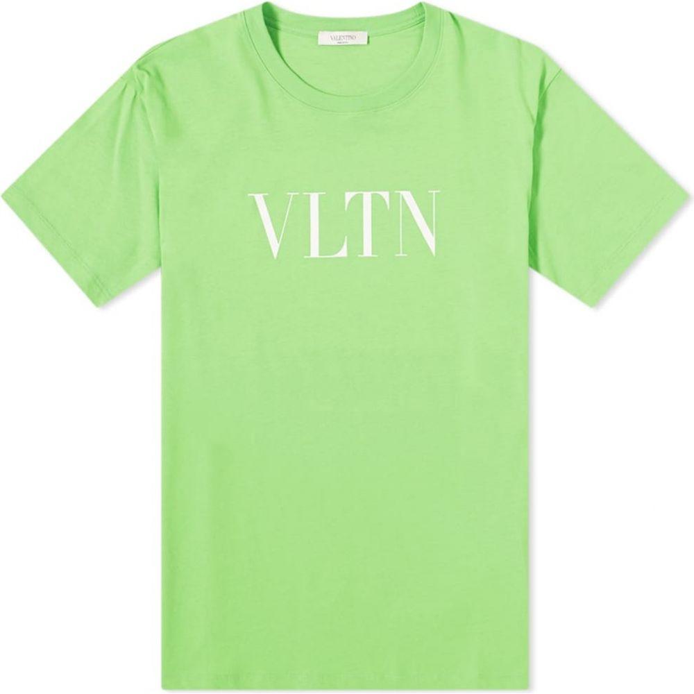 ヴァレンティノ Valentino メンズ Tシャツ ロゴTシャツ トップス【Fluo VLTN Logo Tee】Green/White