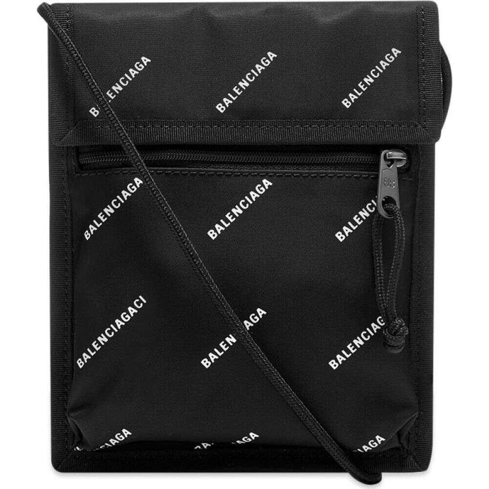 バレンシアガ Balenciaga メンズ ショルダーバッグ バッグ【Small Nylon All Over Logo Cross-Body Pouch】Black/White