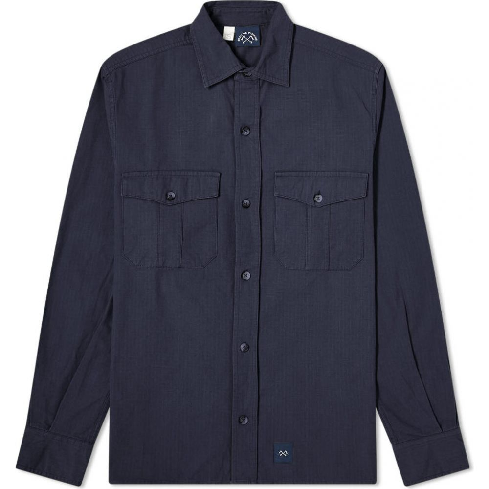 ブルー ドゥ パナム Bleu de Paname メンズ シャツ トップス【2 Pocket Ripstop Shirt】Navy