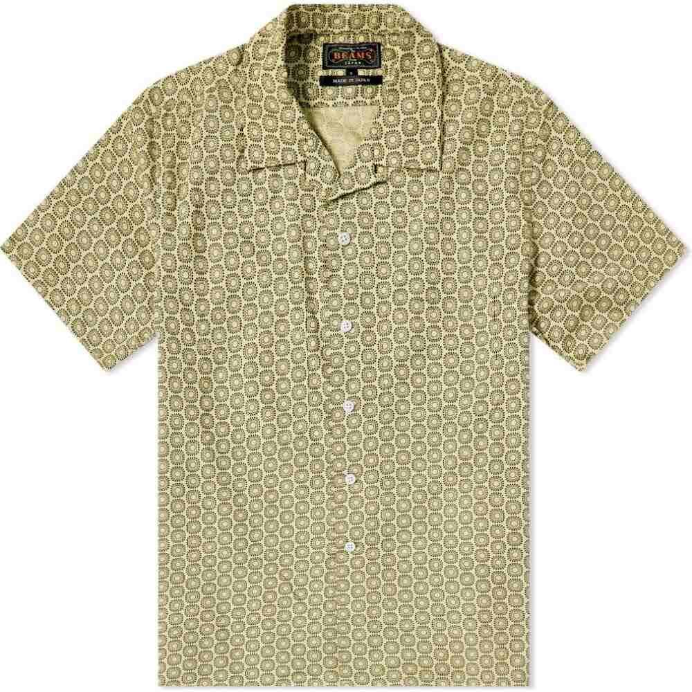 ビームス プラス Beams Plus メンズ 半袖シャツ トップス【Geometric Print Vacation Shirt】Yellow