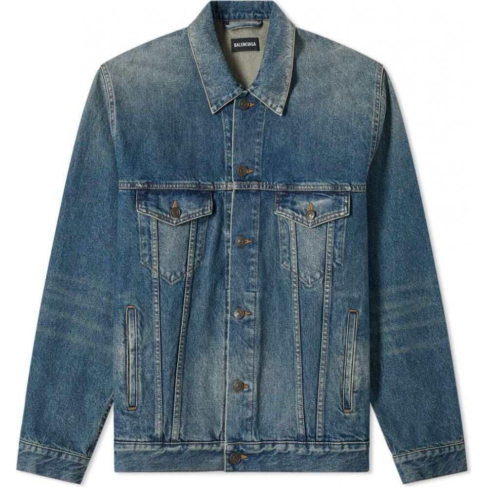 バレンシアガ Balenciaga メンズ ジャケット Gジャン アウター【Paris Flag Denim Jacket】Dirty Vintage Blue
