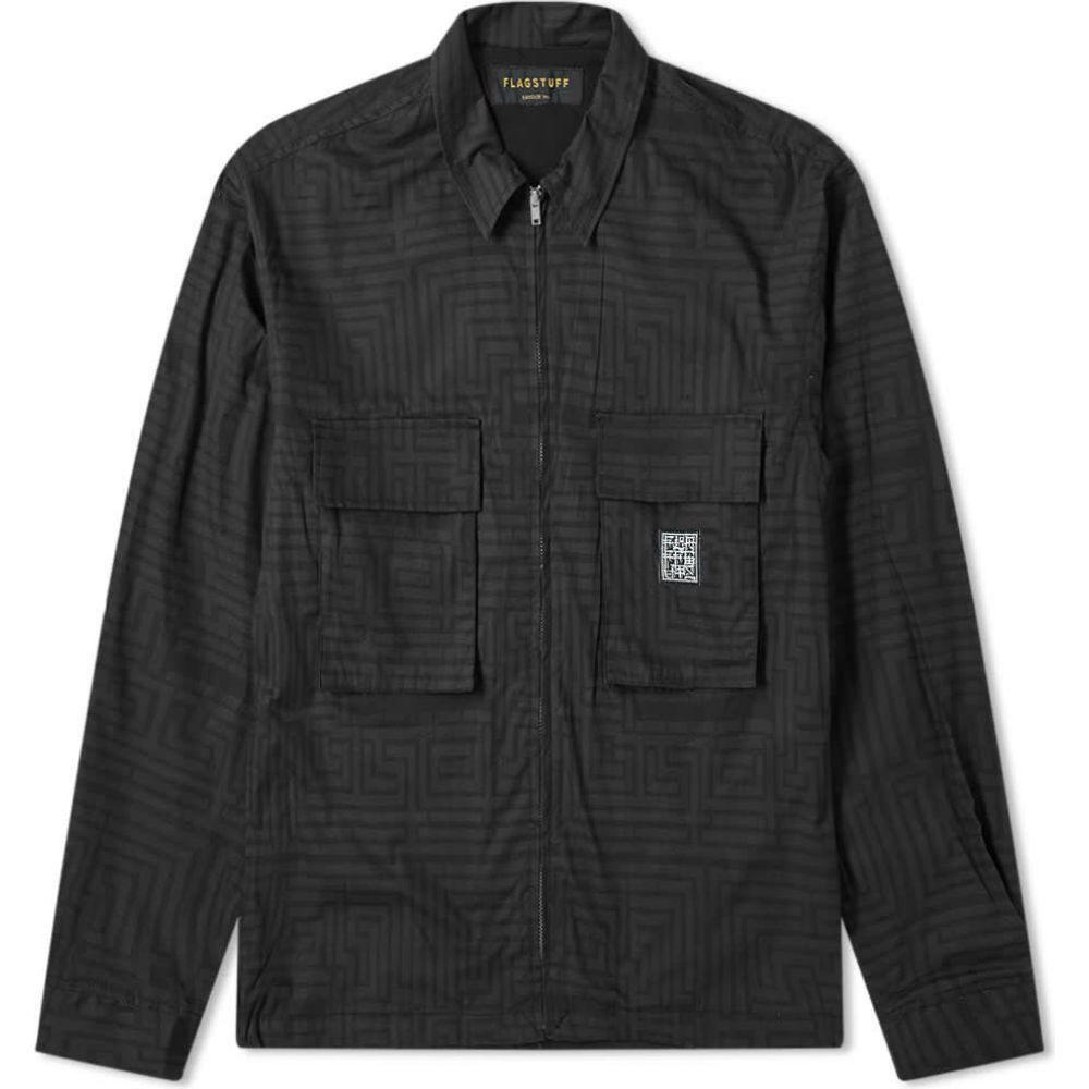 フラグスタフ Flagstuff メンズ ジャケット シャツジャケット アウター【Maze Printed Shirt Jacket】Black