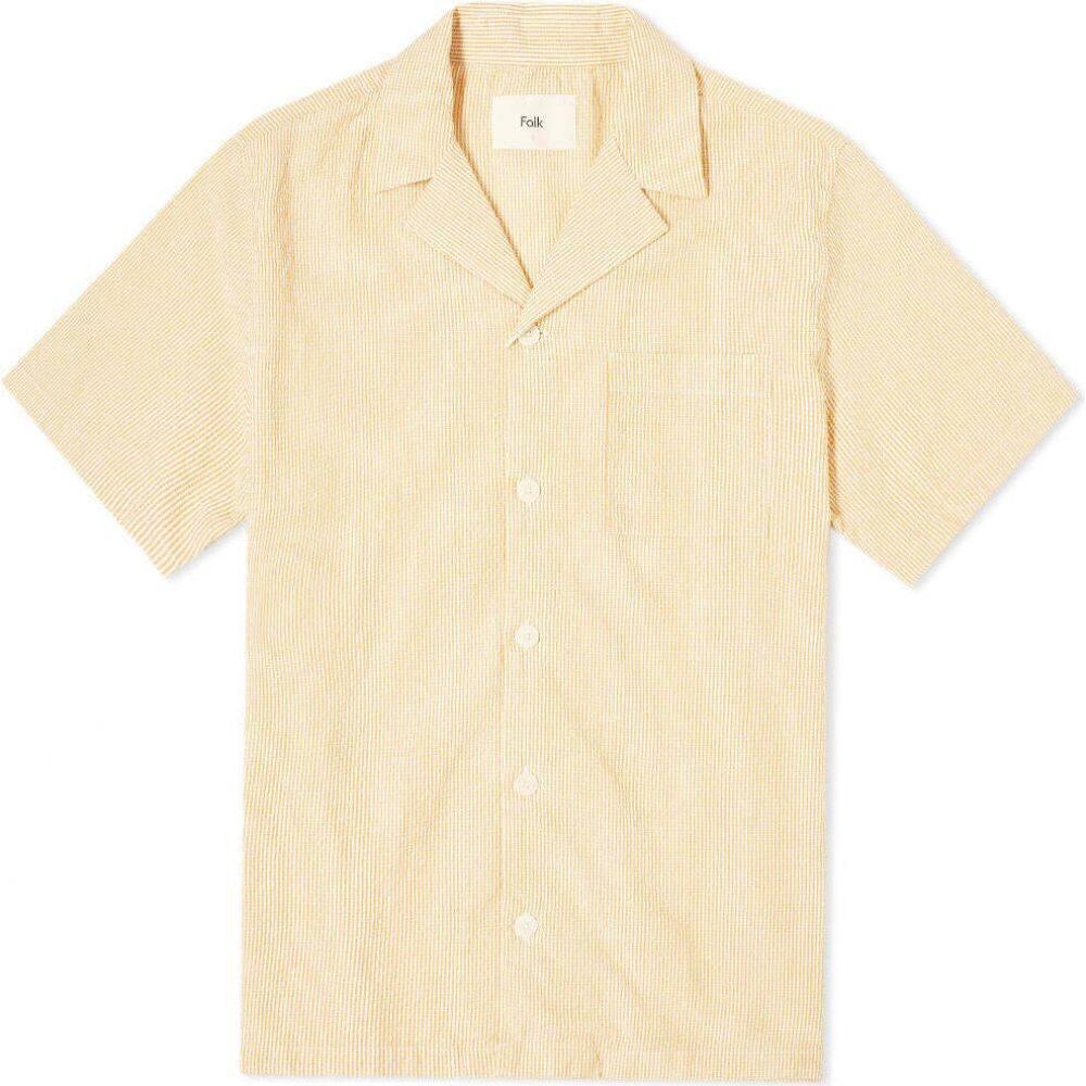フォーク Folk メンズ 半袖シャツ トップス【Striped Vacation Shirt】Marigold Stripe