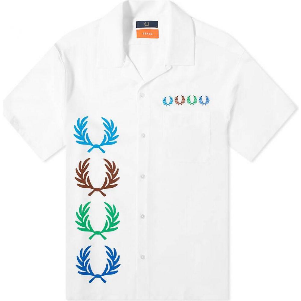 フレッドペリー Fred Perry Laurel Wreath メンズ 半袖シャツ トップス【Fred Perry x Beams Aloha Shirt】White