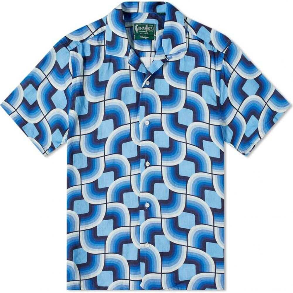 ギットマンヴィンテージ Gitman Vintage メンズ 半袖シャツ トップス【Camp Collar Gio Ponti Linen Blues Shirt】Navy