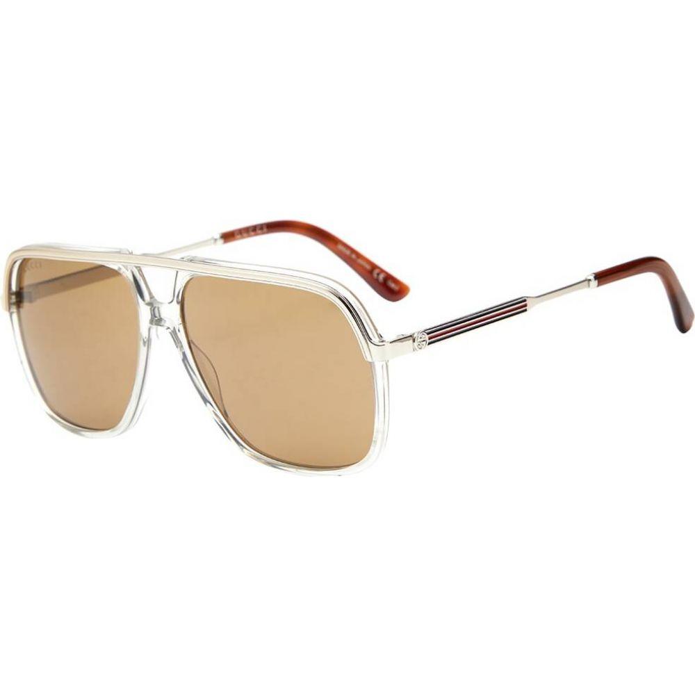 グッチ Gucci Eyewear メンズ メガネ・サングラス アビエイター【Gucci Aviator Sunglasses】Grey/Silver/Brown