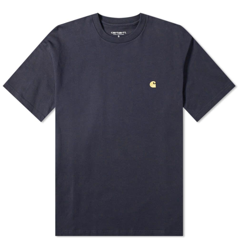 カーハート Carhartt WIP メンズ Tシャツ トップス【carhartt chase tee】Dark Navy/Gold
