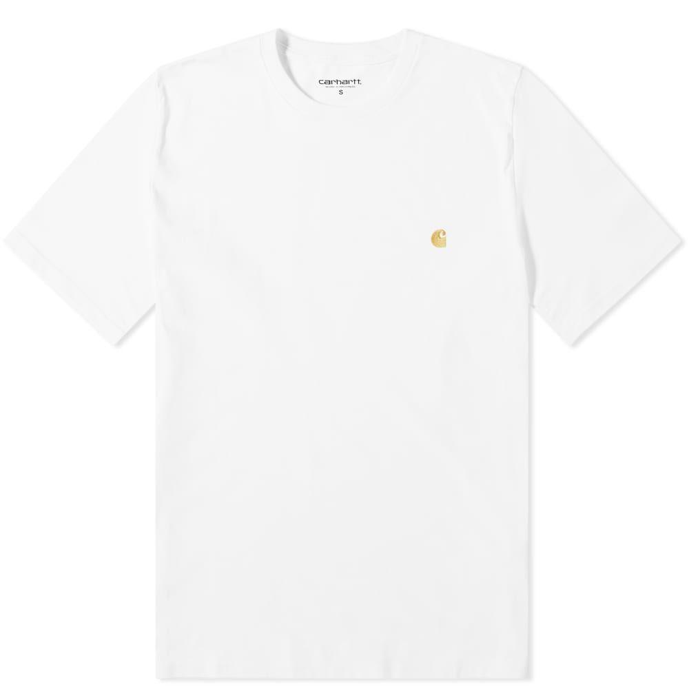 カーハート Carhartt WIP メンズ Tシャツ トップス【carhartt chase tee】White/Gold