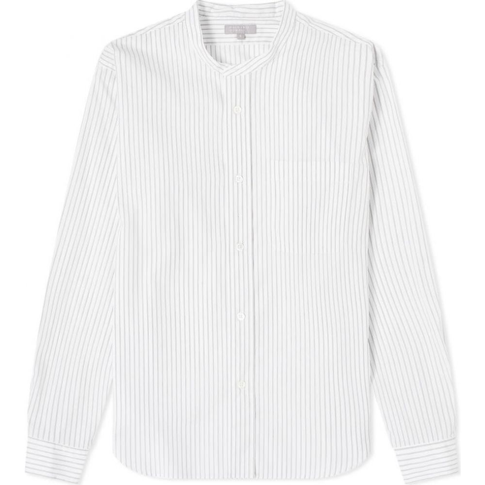 マーガレットハウエル Margaret Howell メンズ シャツ トップス【Button Through Collarless Shirt】White/Black