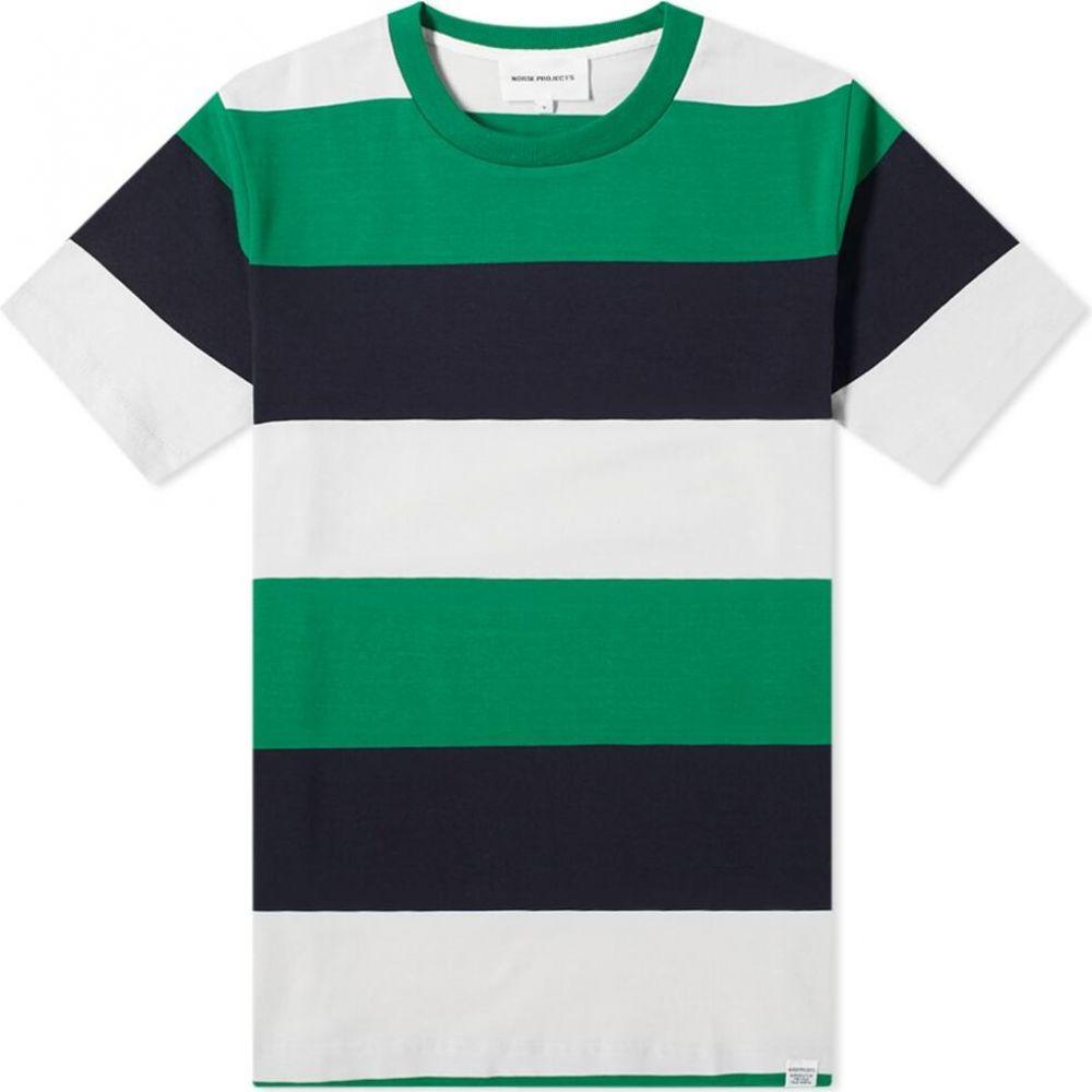 ノースプロジェクト Norse Projects メンズ Tシャツ トップス【Johannes Border Stripe Tee】Sporting Green