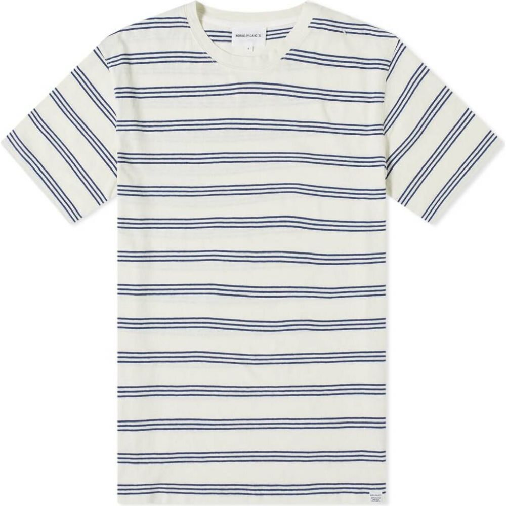 ノースプロジェクト Norse Projects メンズ Tシャツ トップス【Johannes Cotton Linen Stripe Tee】Twilight Blue