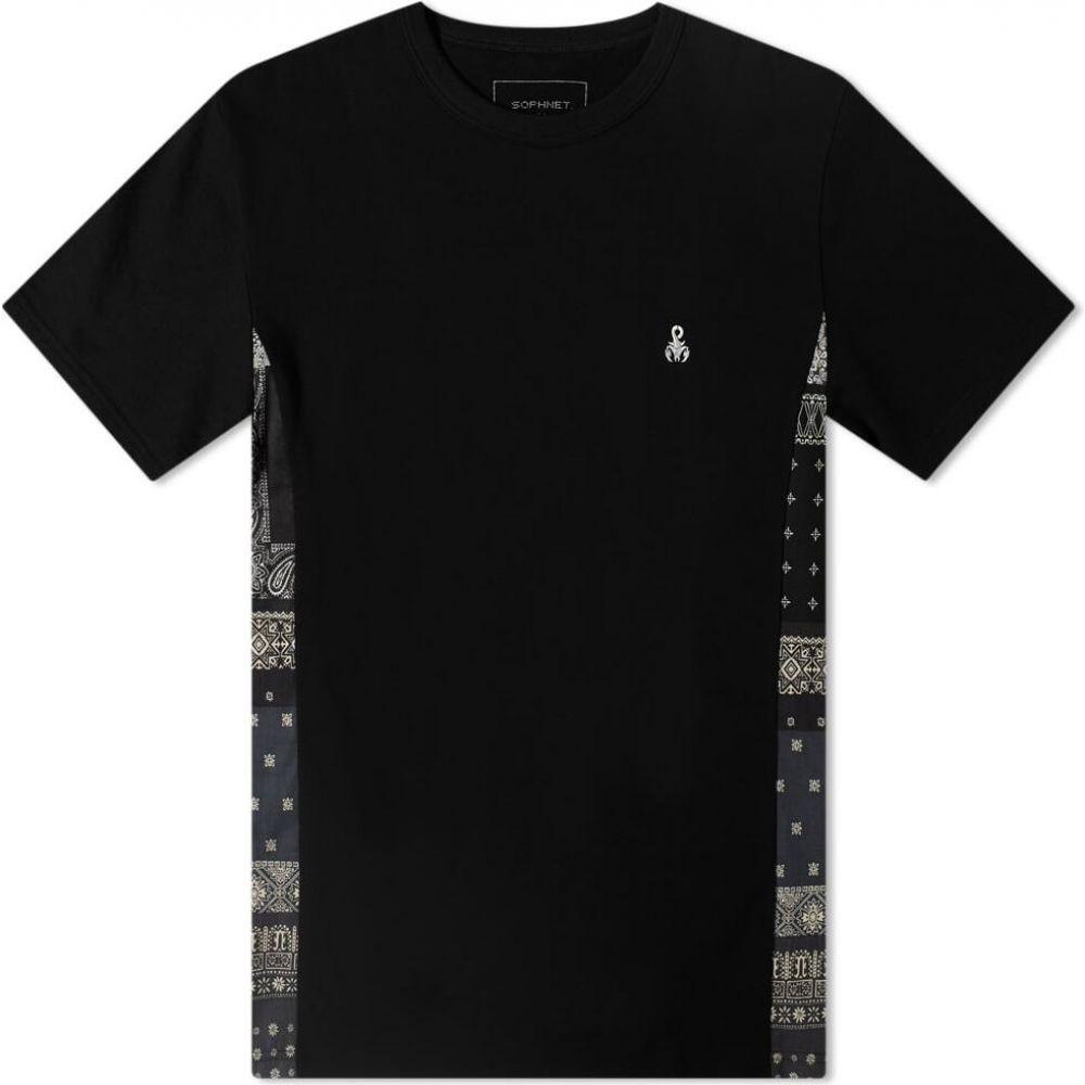 ソフネット SOPHNET. メンズ Tシャツ トップス【Bandana Side Panelled Tee】Black