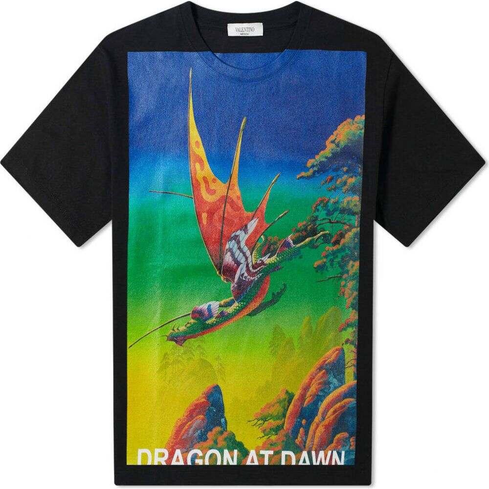 ヴァレンティノ Valentino メンズ Tシャツ トップス【x Roger Dean Dragon At Dawn Tee】Black/Multi
