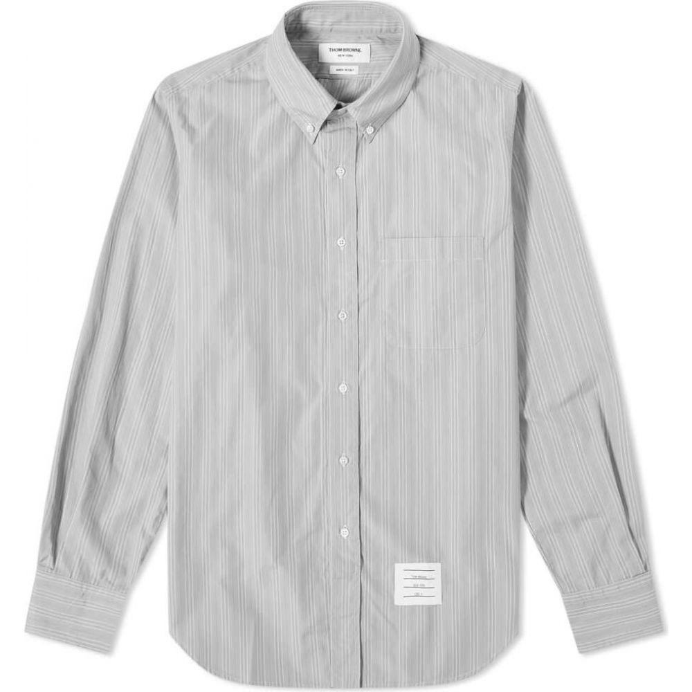 トム ブラウン Thom Browne メンズ シャツ トップス【Stripe Poplin Button Down Shirt】Medium Grey