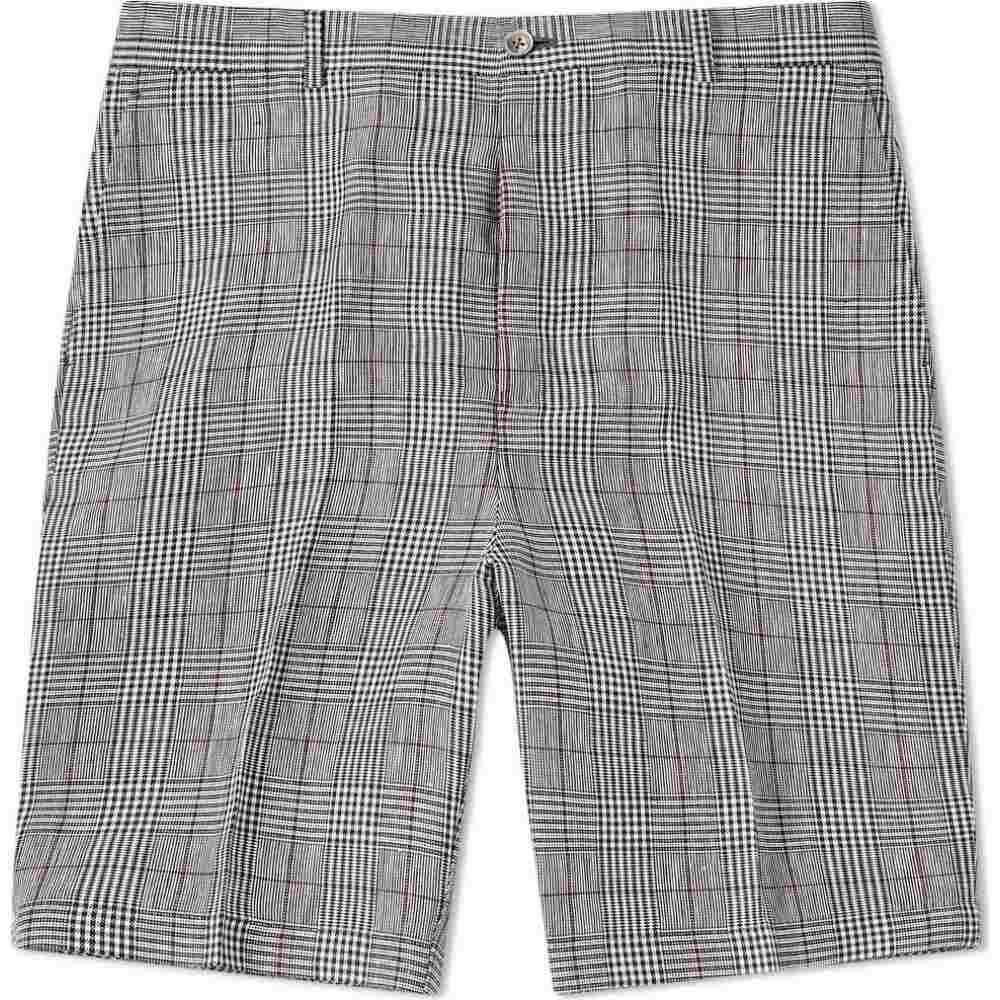 トム ブラウン Thom Browne メンズ ショートパンツ ボトムス・パンツ【Crisp Check Linen Short】Black/White