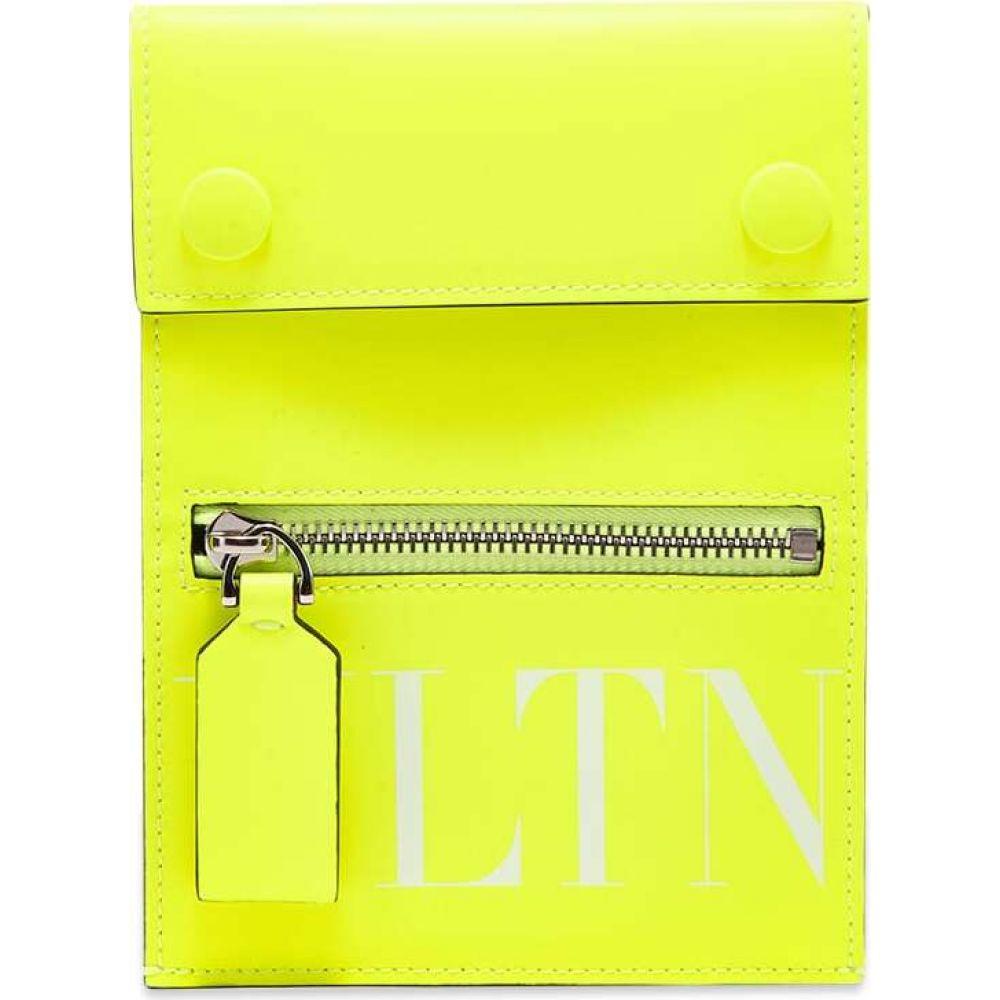 ヴァレンティノ Valentino メンズ ショルダーバッグ バッグ【Fluo VLTN Leather Neck Pouch】Yellow/White