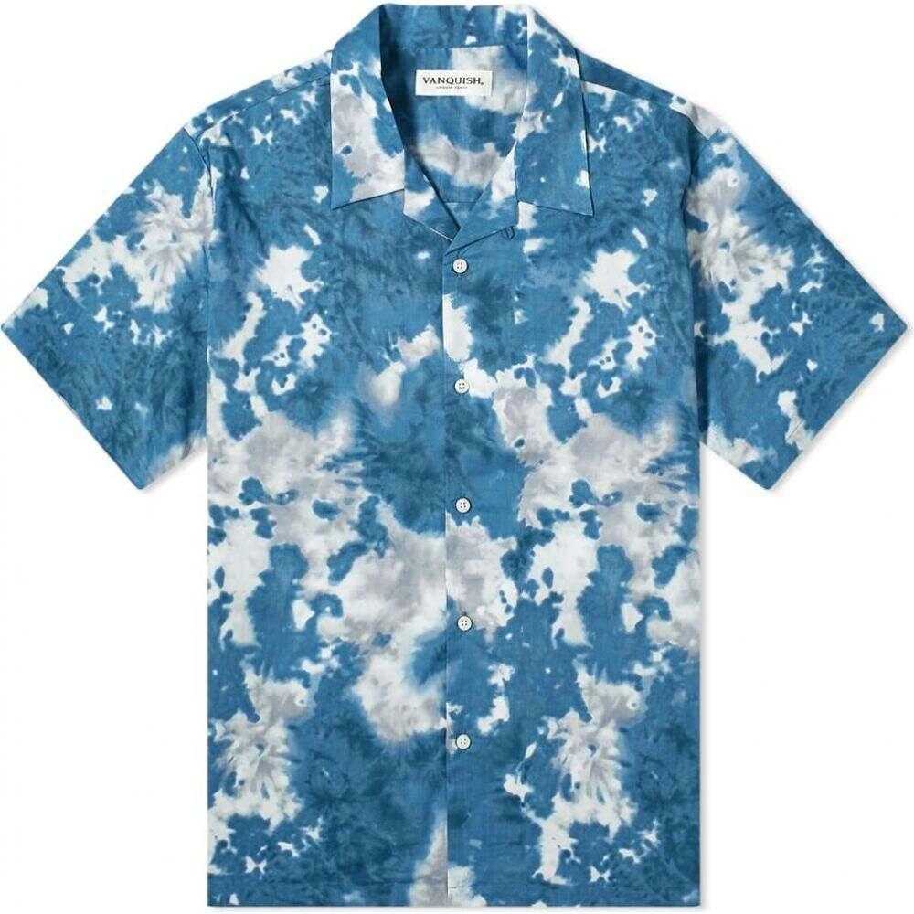 ヴァンキッシュ Vanquish メンズ 半袖シャツ トップス【Tie-Dye Open Collar Shirt】Blue