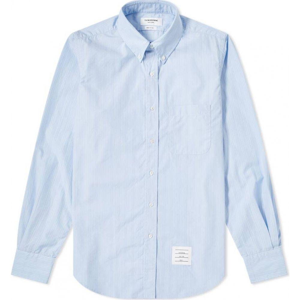 トム ブラウン Thom Browne メンズ シャツ トップス【Stripe Poplin Button Down Shirt】Light Blue