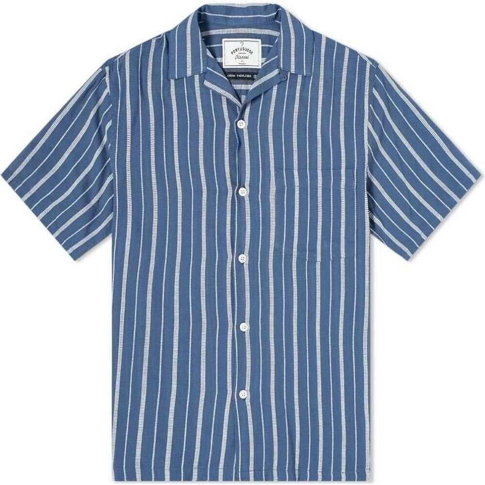 ポーチュギースフランネル Portuguese Flannel メンズ 半袖シャツ フランネルシャツ トップス【Jimmy Vacation Shirt】Blue