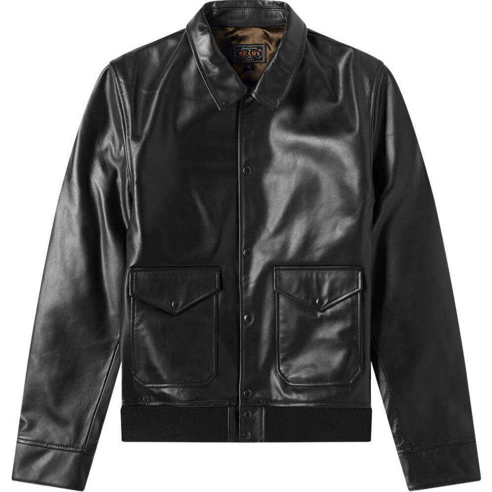 ビームス プラス Beams Plus メンズ レザージャケット アウター【Mil Leather Blouson】Black