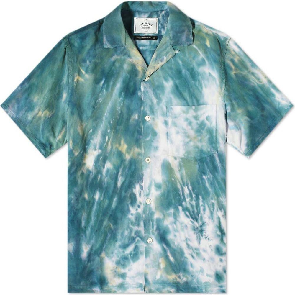 ポーチュギースフランネル Portuguese Flannel メンズ 半袖シャツ フランネルシャツ トップス【Messy Dogtown Vacation Shirt】Blue/Green