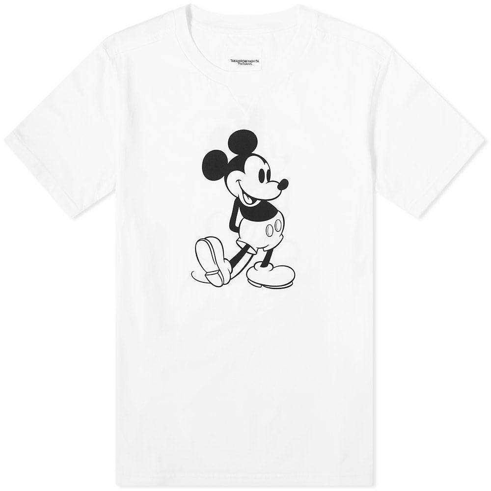 タカヒロミヤシタザソロイスト TAKAHIROMIYASHITA TheSoloist. メンズ Tシャツ トップス【Mickey Mouse Tee】White Monotone
