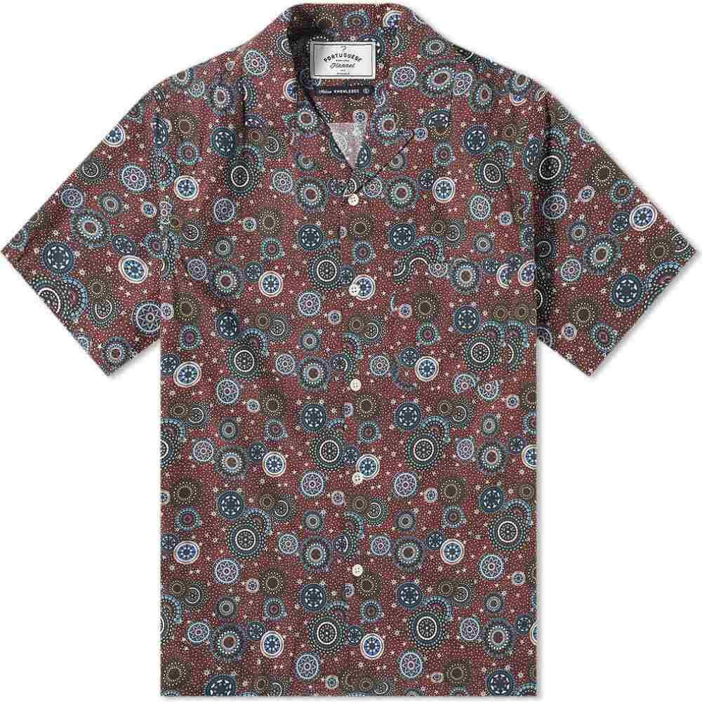 ポーチュギースフランネル Portuguese Flannel メンズ 半袖シャツ フランネルシャツ トップス【Mandala Vacation Shirt】Bordeaux