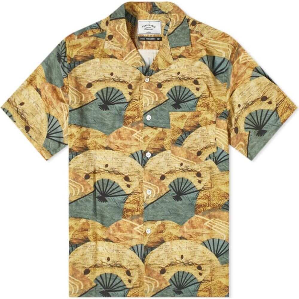ポーチュギースフランネル Portuguese Flannel メンズ 半袖シャツ フランネルシャツ トップス【Fukuse Vacation Shirt】Sand