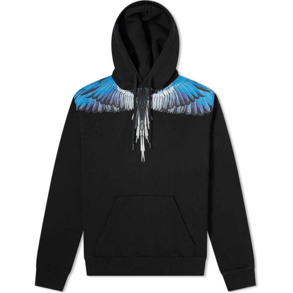 マルセロバーロン Marcelo Burlon メンズ パーカー トップス【Wings Shoulder Popover Hoody】Black/Blue
